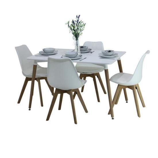 ensemble de salle a manger moderne lorenzo table blanche et 4 chaises blanches ensemble de salle
