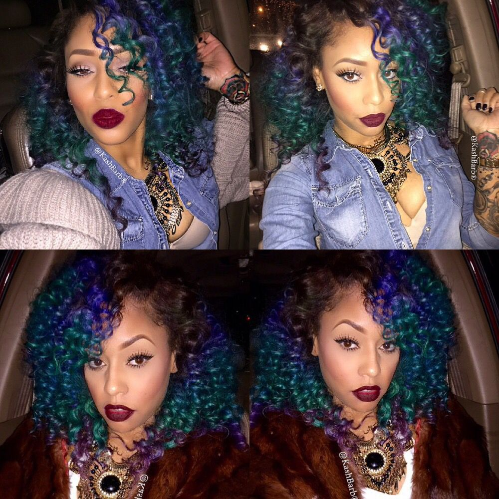 Green Blue Purple Kinky Curly Ombre Hair Weave Hairstyle Black