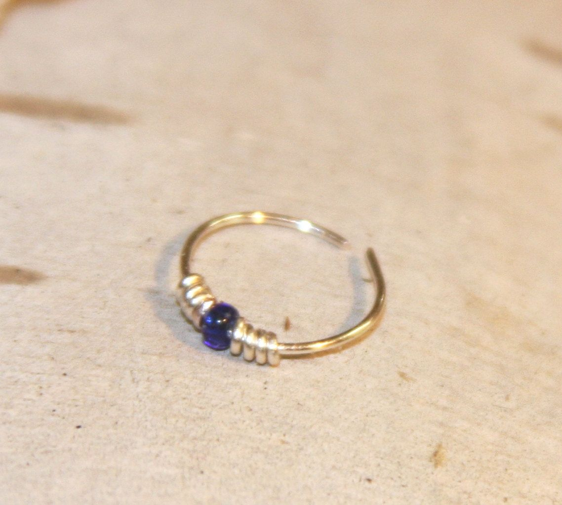 Nose piercing without earring  Small Nose Ring  gauge Blue Beaded Nose Ring Nose Hoop Hoop