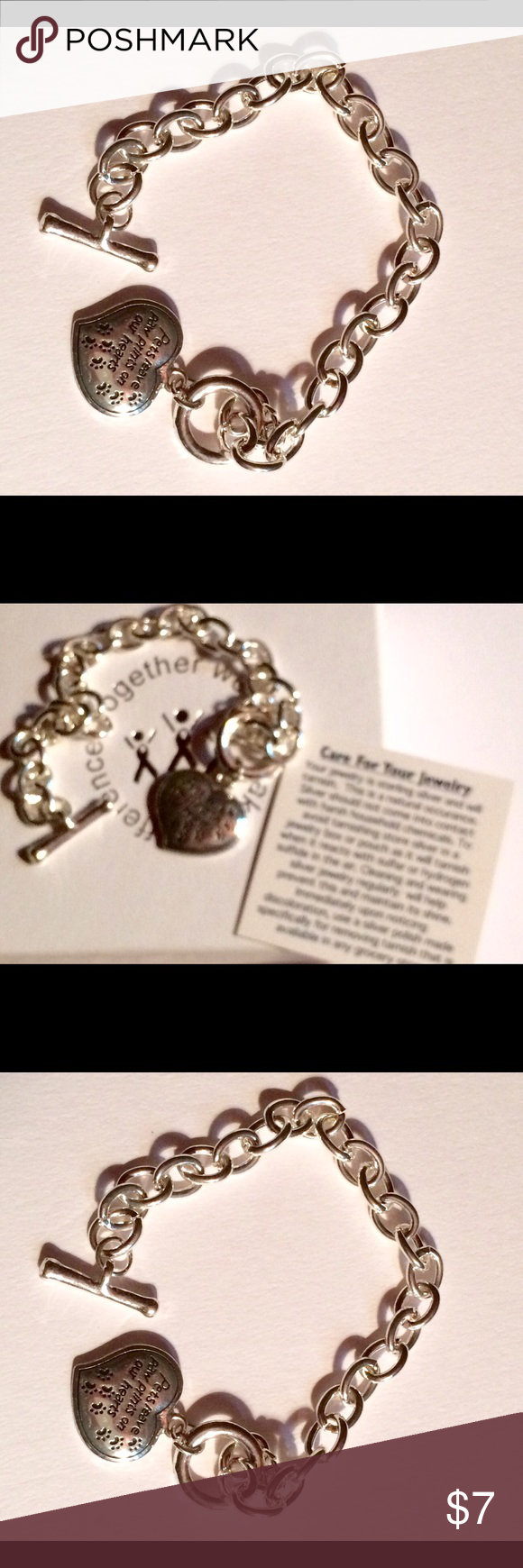 "Bracelet- ""Pets leave Paw Prints On Our ❤️ Hearts The quote says it all  Bracelet is 7 1/2"" and has a toggle clasp. Brand new in box 📦 Jewelry Bracelets"