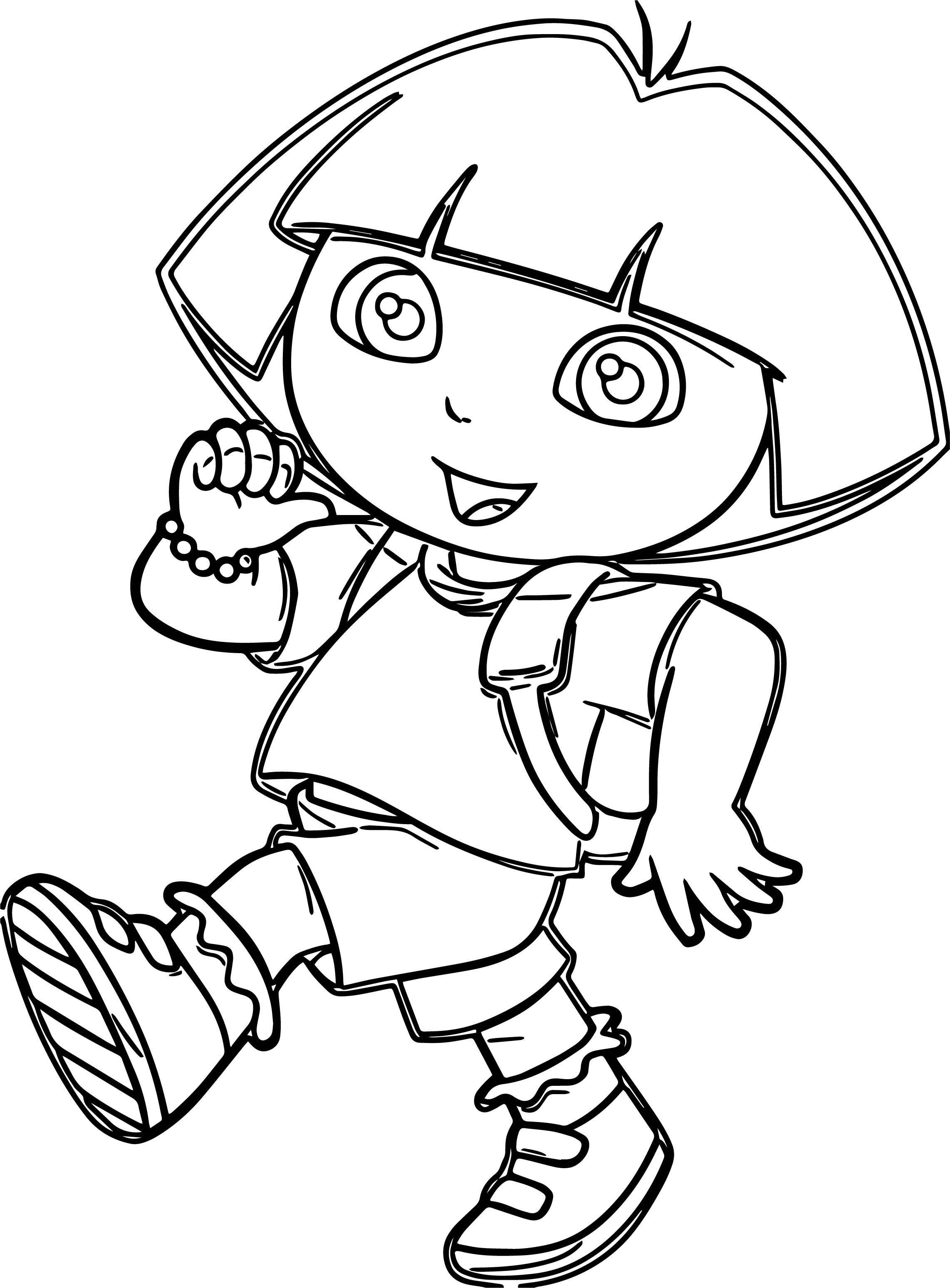 Nice Dora Marquez Walking Cartoon Coloring Page