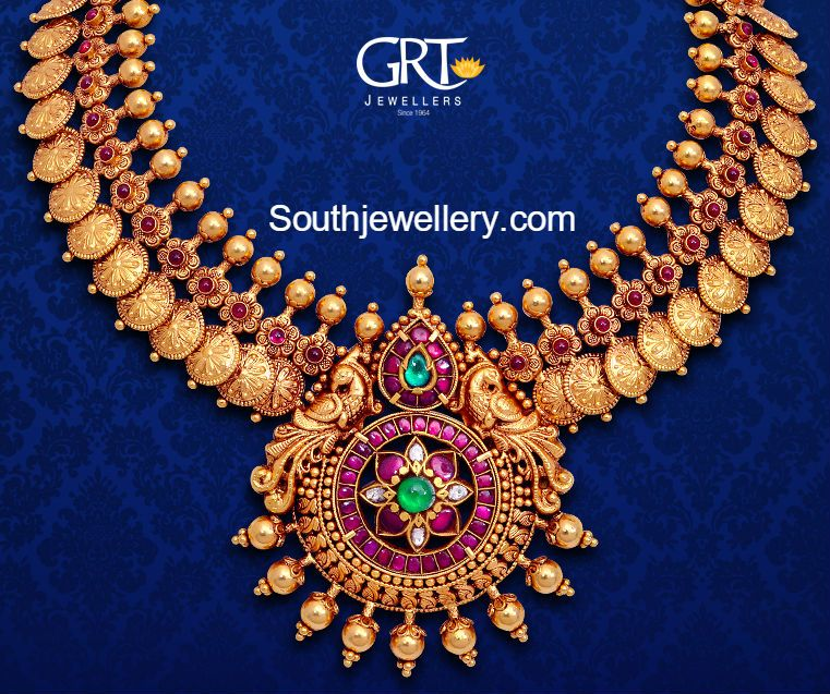 Kasu statement necklace at GRT jewellers South Indian bridal