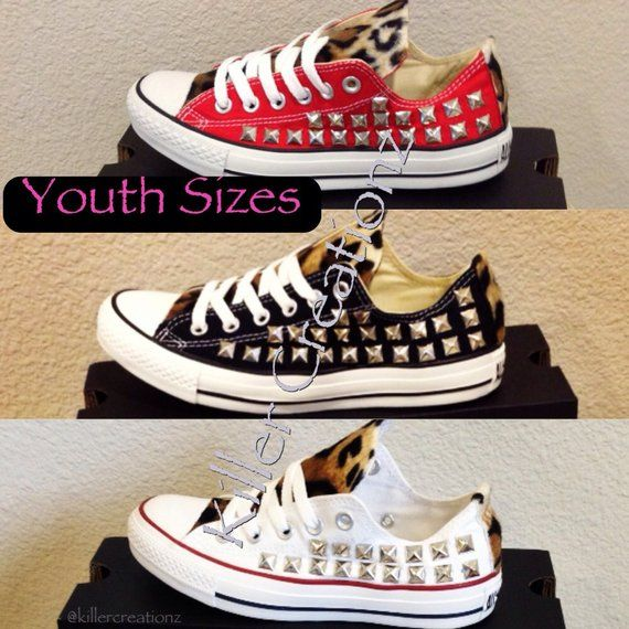 bc7c59171ff9 Custom studded Converse Chuck Taylors with faux leopard fur YOUTH SIZES  Studded Converse