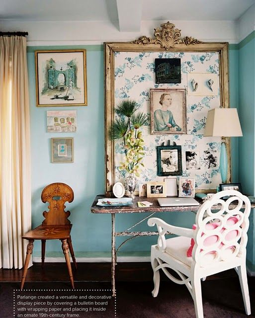 Expert Advice Home Office Design Tips From Interior Designers: Large Framed Bulletin Board In Office Above Desk