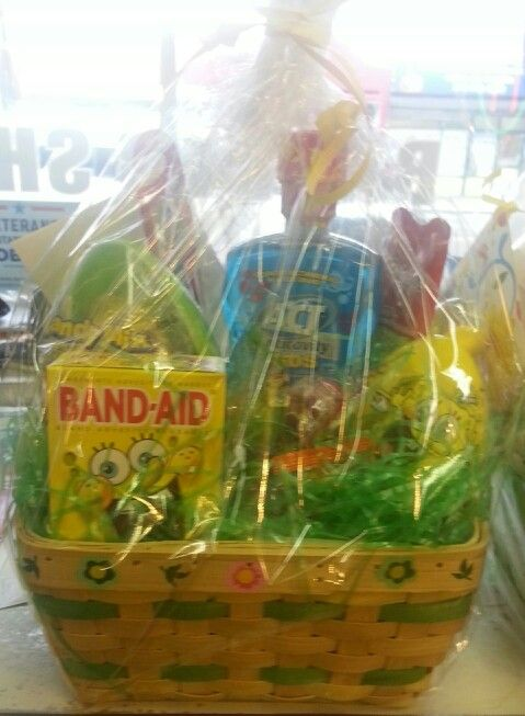 Spongebob~Toothpaste, toothbrush, Act anticavity rinse, Band Aids (for those that don't know, kids love bandaids. lol) and asst candies.~$30.00 (tax incl) SOLD