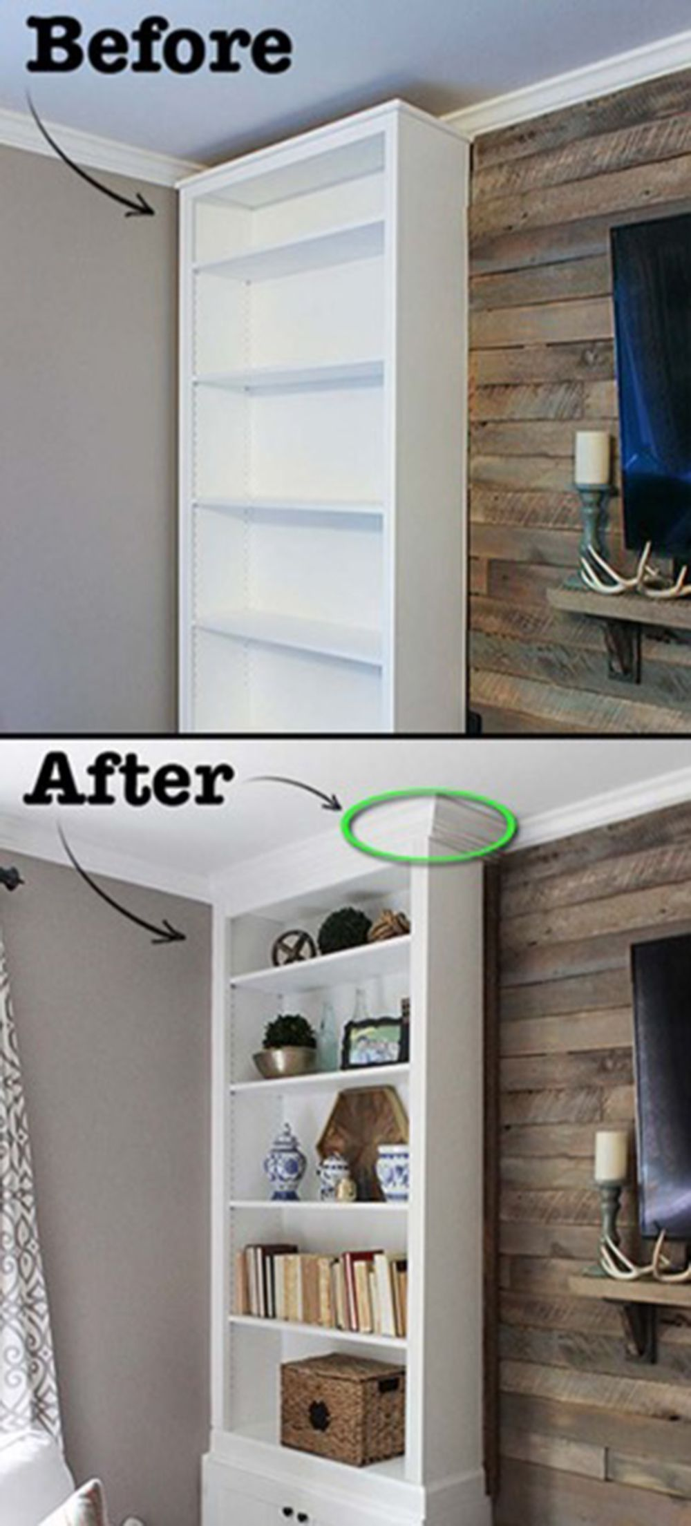12 Genius Hacks To Transform Your Ikea Billy Bookcase Home Remodeling Diy Home Decor Tips Home Diy