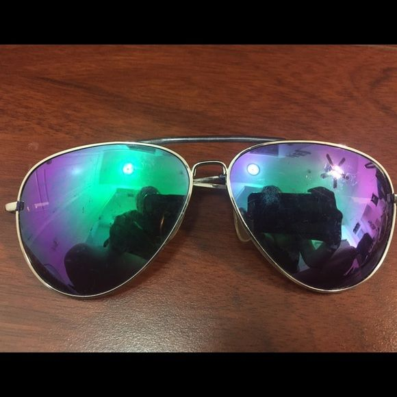 Colored Mirror Aviators Blue/green and purple mirror aviators purchased from Nordstrom bp Accessories Glasses