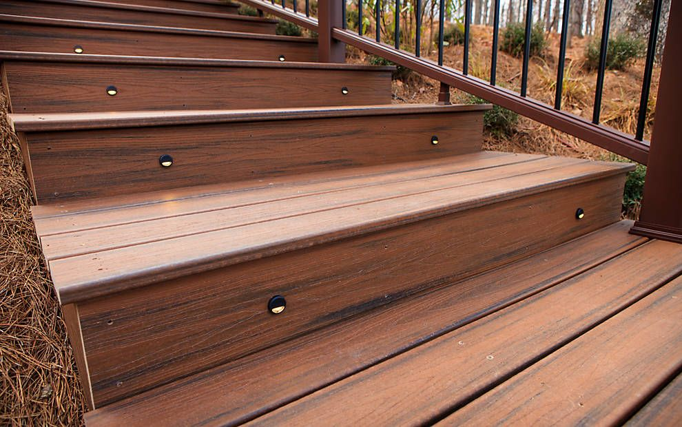Trex Decklighting Riser Lights Complement The Beautiful Trex Decking And Stairs In Spiced Rum Deck Lighting Deck Stairs Trex Deck Lighting