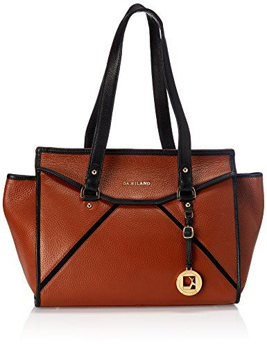 be03daf4413 Da Milano Women s Handbag (Oak and Black) (LB 2047)   Girls Fashion ...