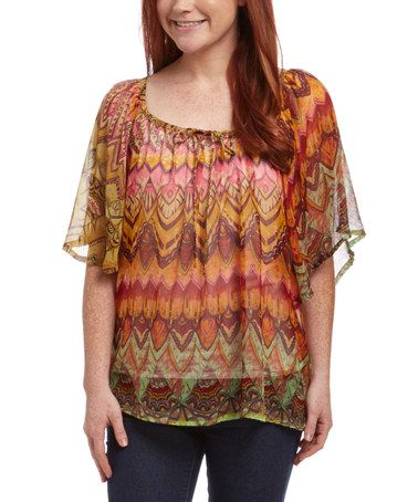 Another great find on #zulily! Fuchsia & Orange Sheer Abstract Drape Sleeve Top - Women #zulilyfinds