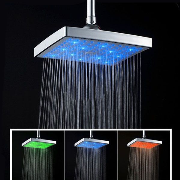 8 Inch Function Temperature Sensitive Rainfall LED Shower Head Chrome - Lamps & Light Fixtures - Tools,Home Improvement - Home,Garden & Tools -Free Shipping for all to over 200 countries on Malloom.com