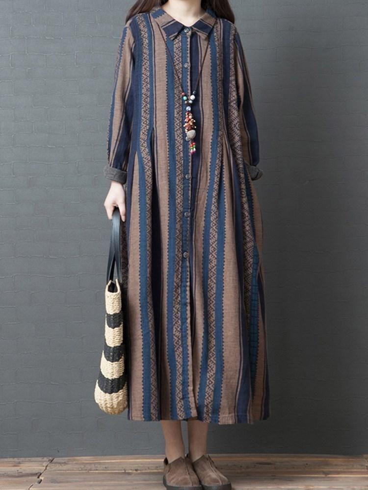 Print Ankle-Length Long Sleeve Japanese Single-Breasted Dresses