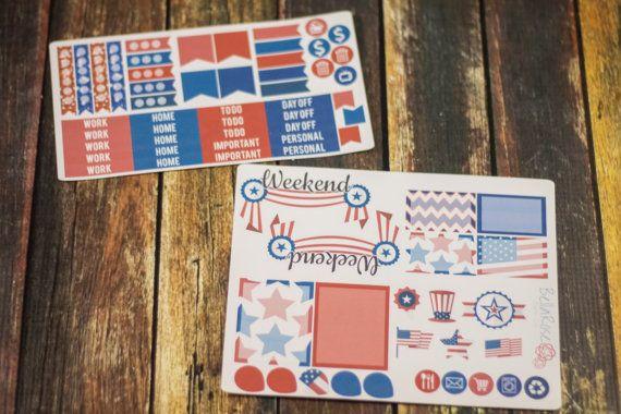 Memorial Day/Americana Planner Sticker Sampler by BellaRosePaperCo #planneraddict #memorialday #planners #erincondren #plannergirl