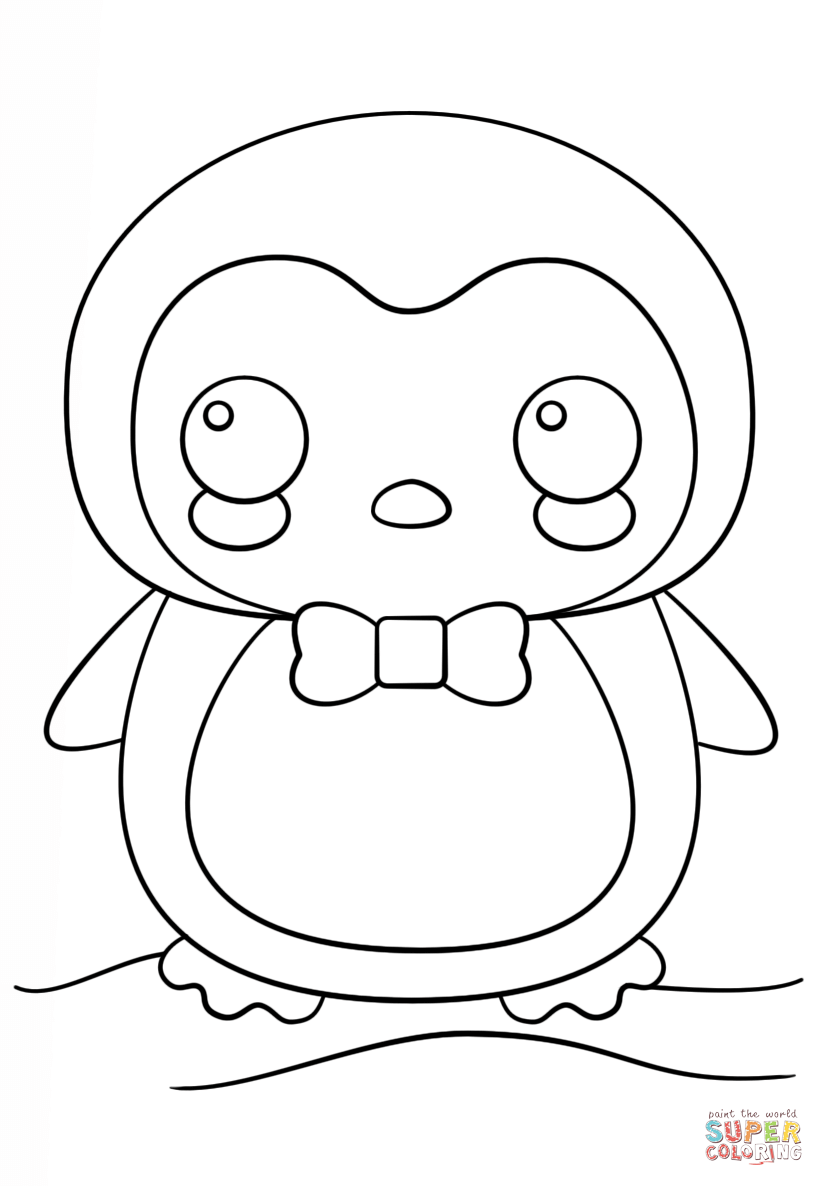 Kawaii Penguin coloring page from Penguins category