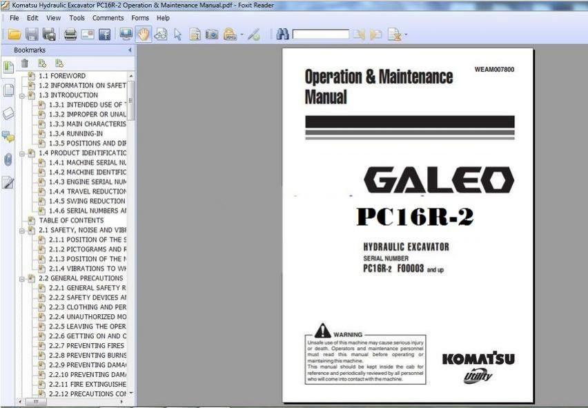 KOMATSU HYDRAULIC EXCAVATOR PC16R-2 OPERATION \ MAINTENANCE MANUAL - operation manual