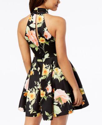 57ec8311d8d8 B Darlin Juniors' Crochet-Trimmed Printed Fit & Flare Dress - Black 3/4