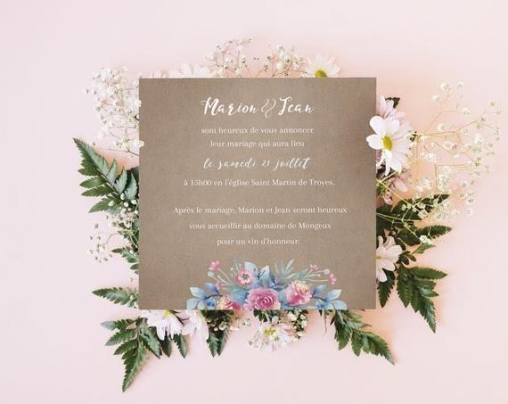 Faire-part mariage champêtre fleurs aquarelle bleu et rose, papier kraft