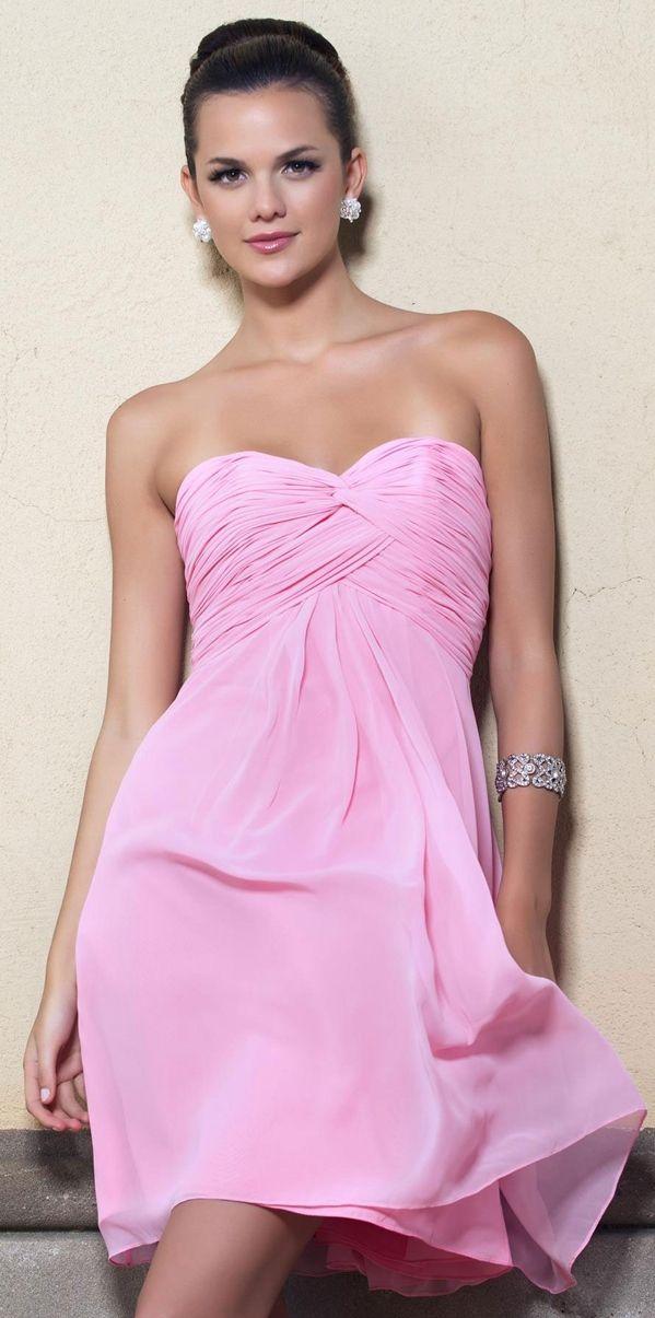 #Simple #Short Ruching Chiffon Sweetheart A-line #BridesmaidDresses