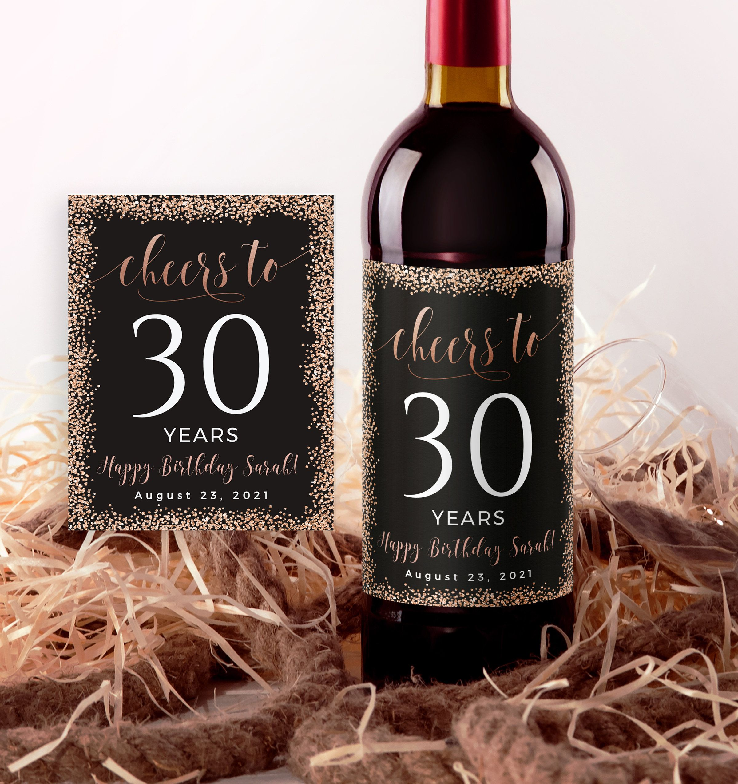 Birthday Wine Label Template Cheers To 30 Years 40th Birthday Etsy Wine Label Template Birthday Wine Label Wine Label Printable Birthday wine label template free