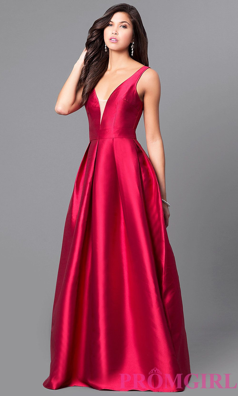 4b8fbea3843 Image of long satin v-neck prom dress with box pleats. Style  LP-24262  Detail Image 1