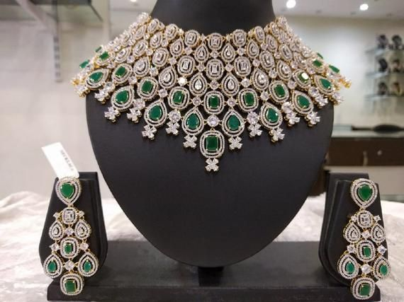 78583d2547 Grand & Sparkling Bridal Collar Choker Necklace Set with Earrings in American  Diamonds and Emeralds