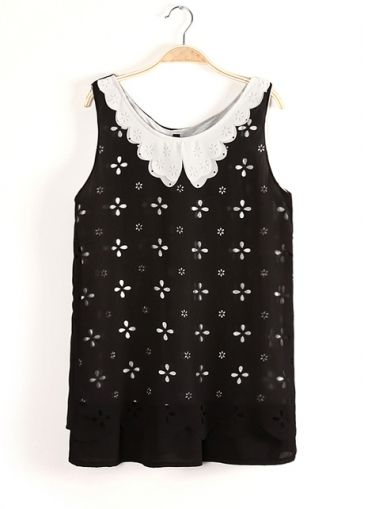 Cute Flower Print Peter Pan Collar Chiffon Black Vests on sale only US$10.77 now, buy cheap Cute Flower Print Peter Pan Collar Chiffon Black Vests at martofchina.com