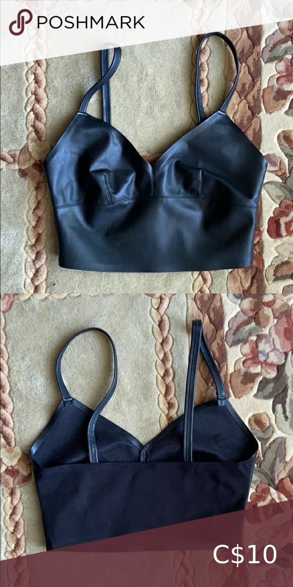 Zara faux leather crop