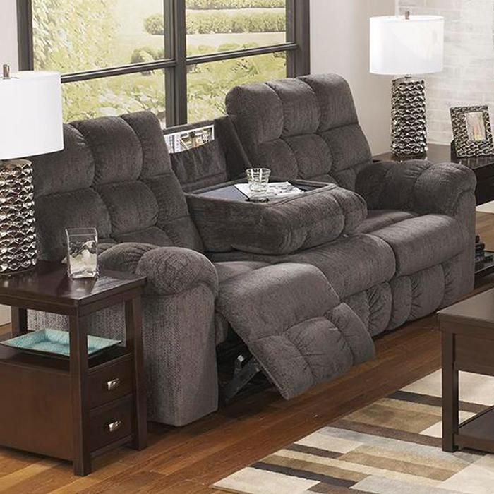 Acieona Reclining Sofa With Drop Down Table In Slate Nebraska Furniture Mart
