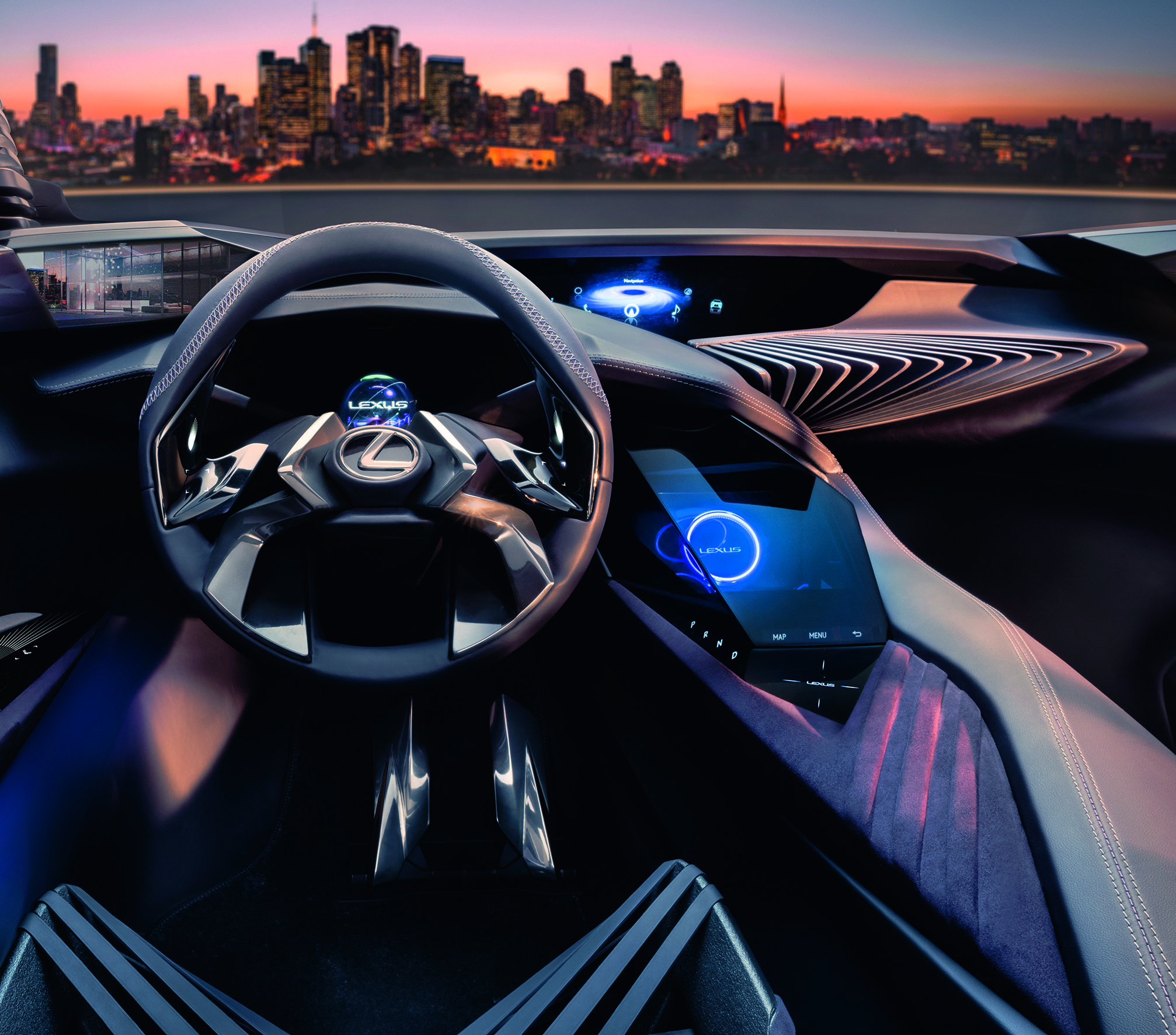 Deconstruction By Design Is The Principle Most Powerfully Represented In The Lexus Ux Concept S Main Cabin In Concept Cars Lexus Cars Futuristic Cars Interior