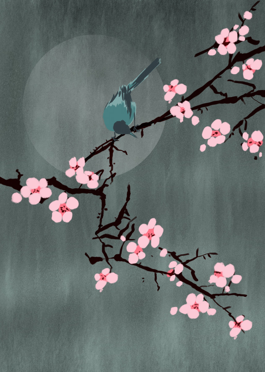 Cherry Blossom And Bird Poster By Mod Artisto Displate Cherry Blossom Art Cherry Blossom Painting Cherry Blossom Drawing