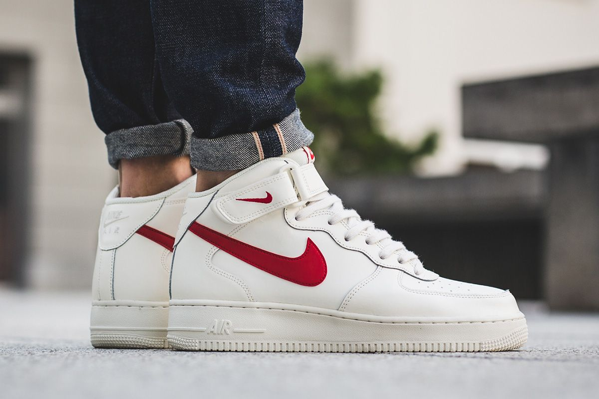 Nike Air Force 1 Mid 07: WhiteRed | Shoe obsession in 2019