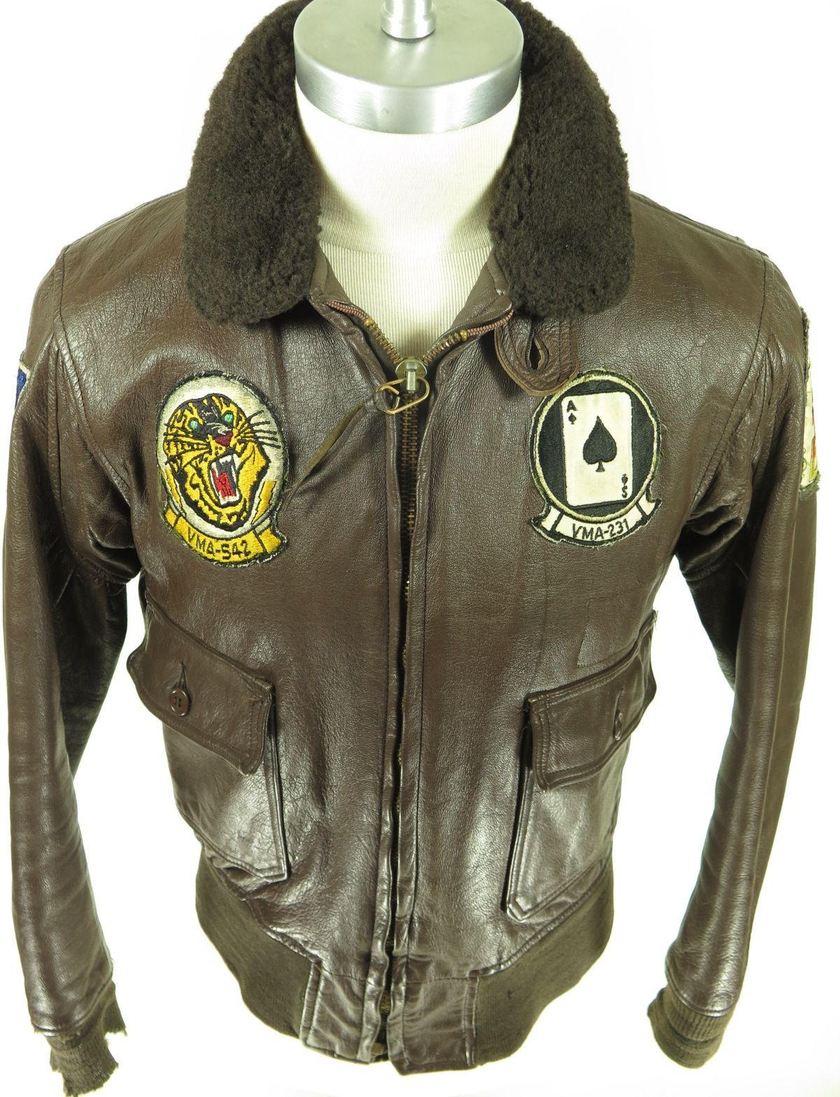 907ed7e609ee08 Vintage Brill Bros 1973 Vietnam Type B1 leather flight bomber jacket.  Marine group combat training