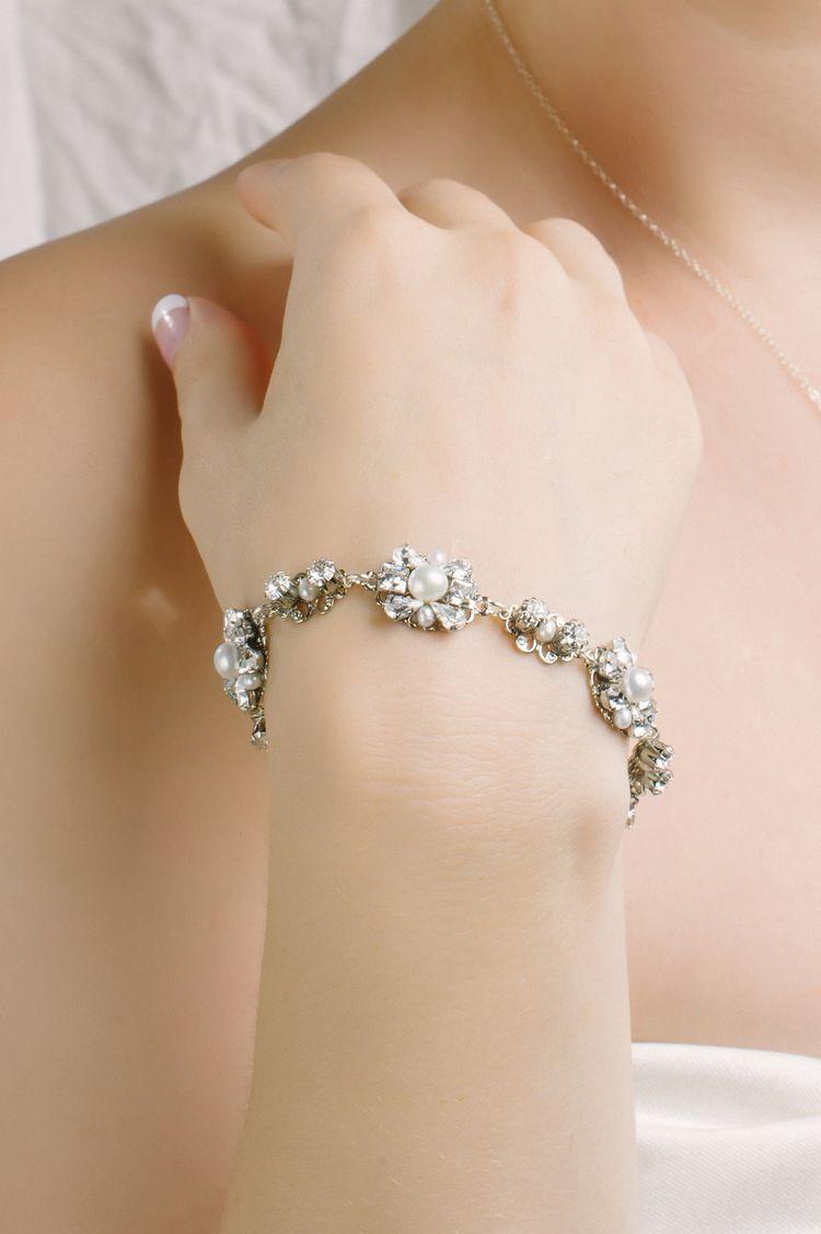 Sara Gabriel 'Rose' bracelet with freshwater pearls and Swarovski crystals.