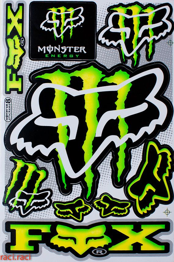 Green monster energy claws sticker decal supercross by - Fox and monster logo ...