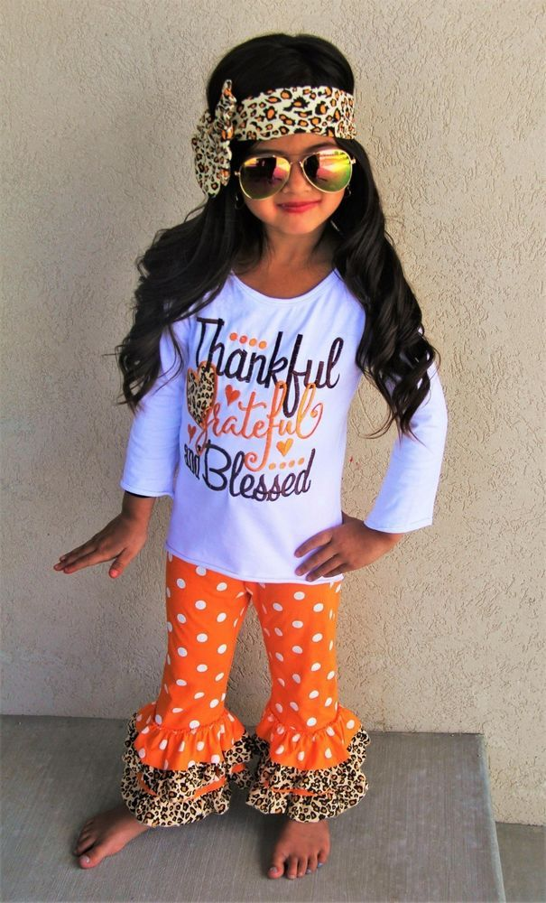 Thanksgiving Thankful Grateful Blessed Boutique Girl\u0027s