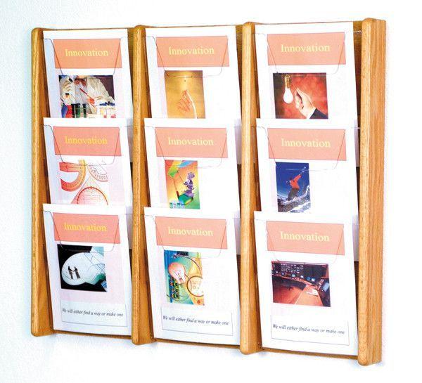 Wooden Mallet 9 Pocket Acrylic & Oak Wall Display - Light Oak