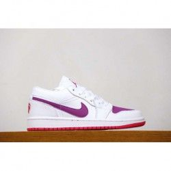 9d98dbba1ca169 Nike Air Jordan 1 Low GS White Pink Purple Valentine s Day Womens Low  Basketball-Shoes
