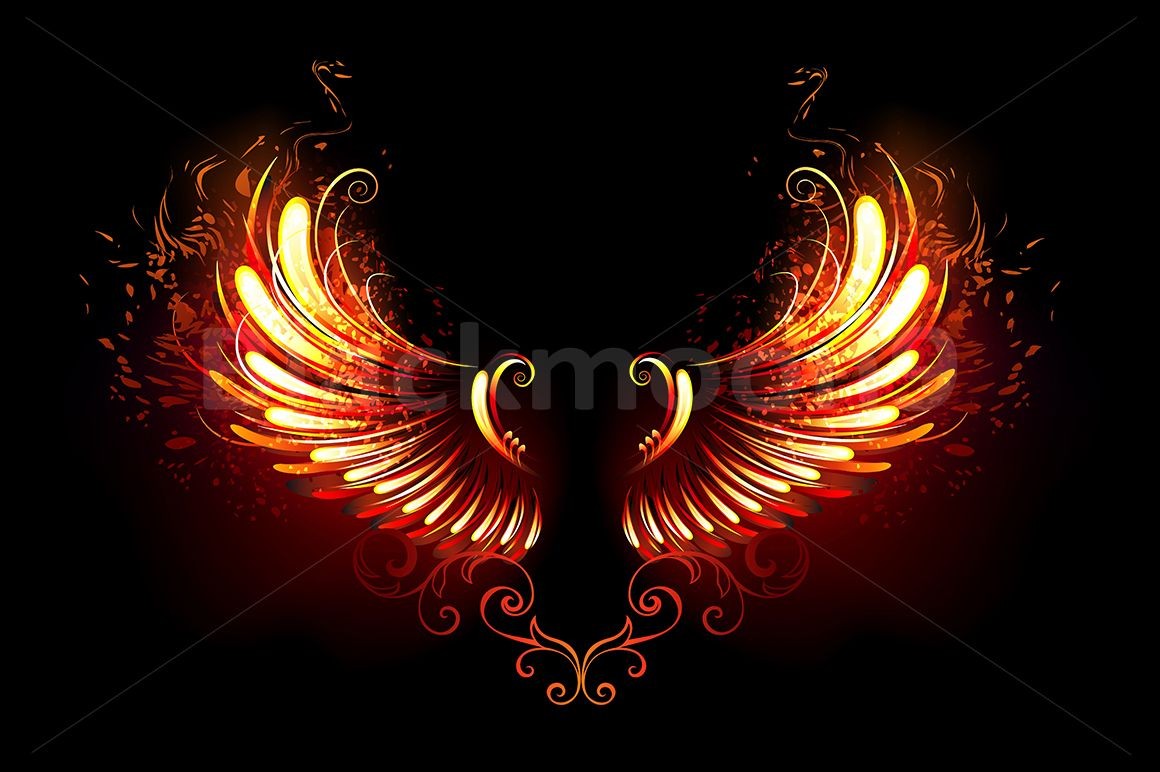 Fire Wings Graphic By Blackmoon9 Creative Fabrica Red And Black Background Wings Illustration Design