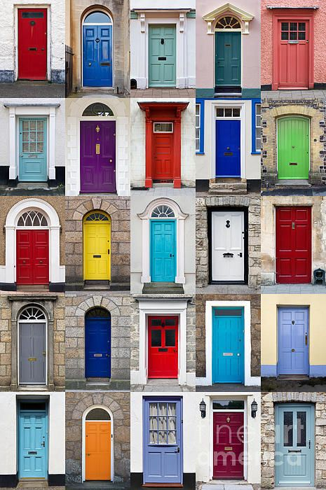 Vertical Photo Collage Of 25 Front Doors Poster By Richard Thomas