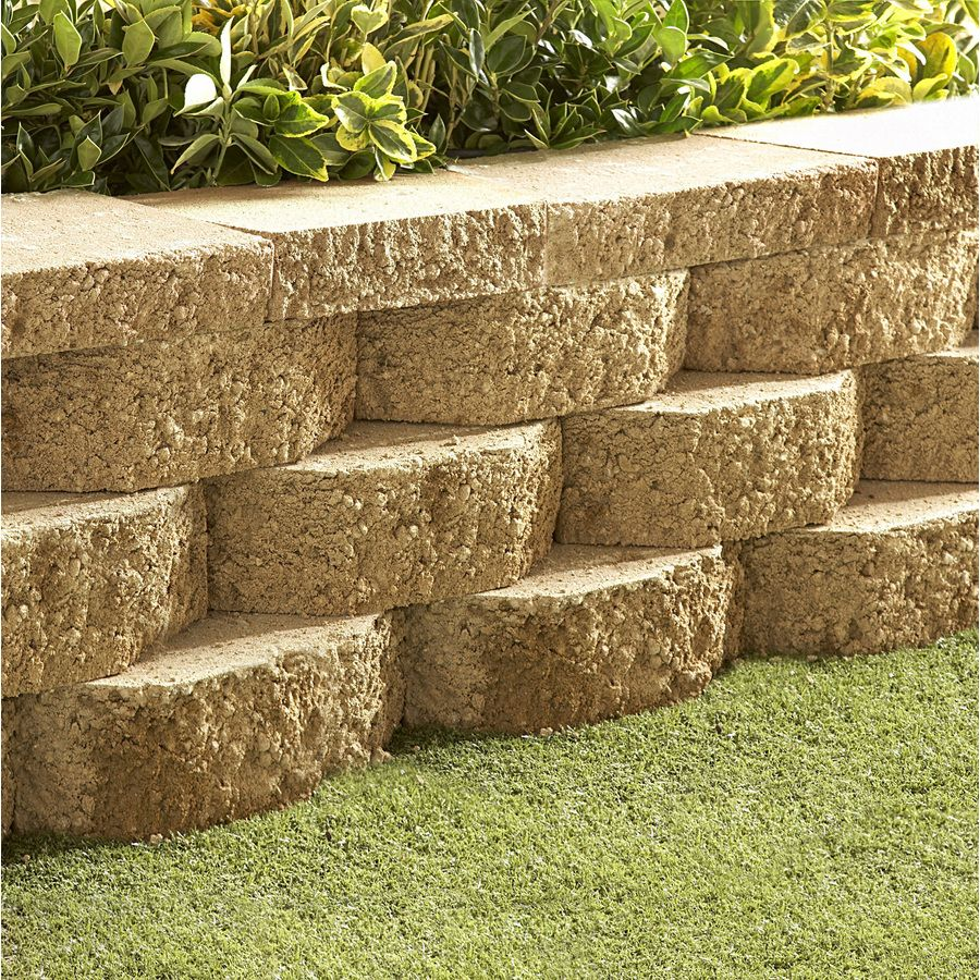 Lowes Basic Tan Retaining Wall Block Common 4 In X 12 In Actual 4 In X 11 5 In In 2020 Landscaping Retaining Walls Garden Retaining Wall Retaining Wall Blocks
