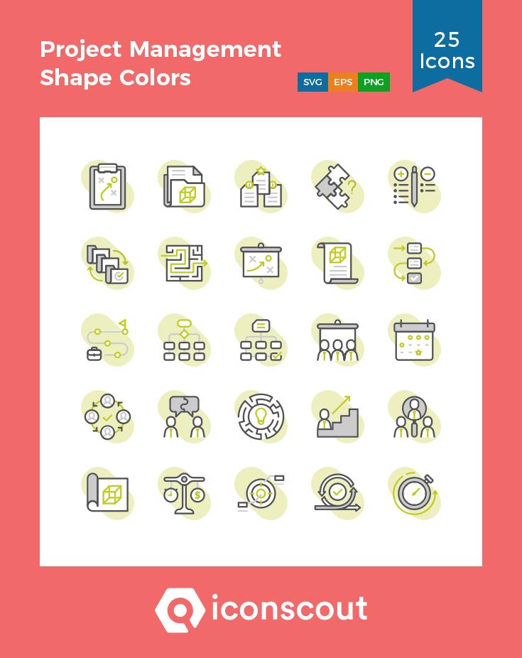 Download Project Management Shape Colors Icon pack