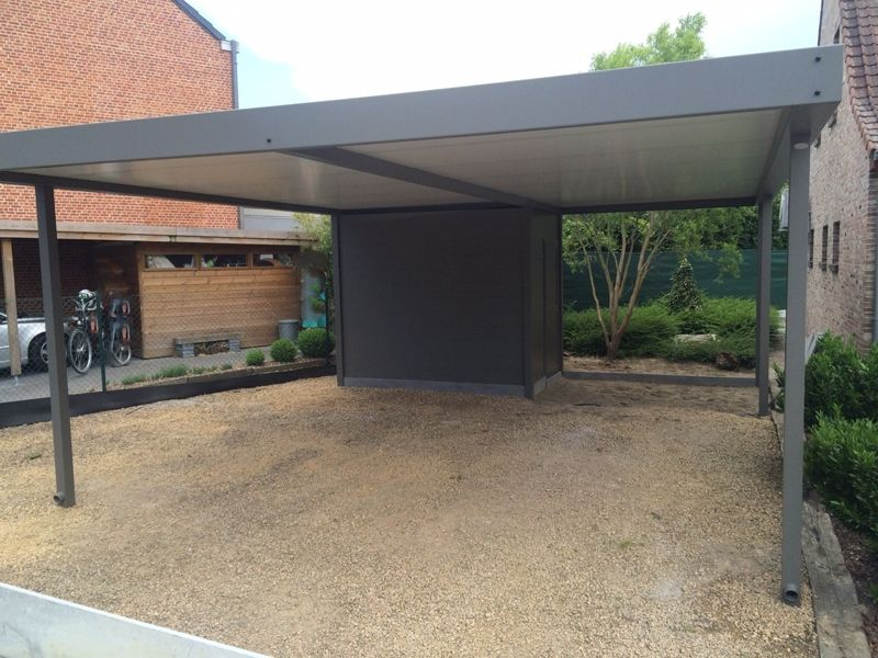 carport met ge ntegreerde berging in aluminium metallooks carport in 2018 pinterest. Black Bedroom Furniture Sets. Home Design Ideas