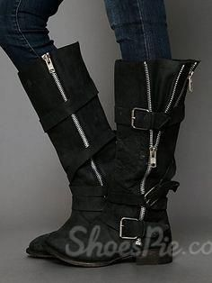 superior quality diverse styles variety styles of 2019 Comfortable Flat Heel Buckle Mid-Calf Boots   shoes in 2019 ...