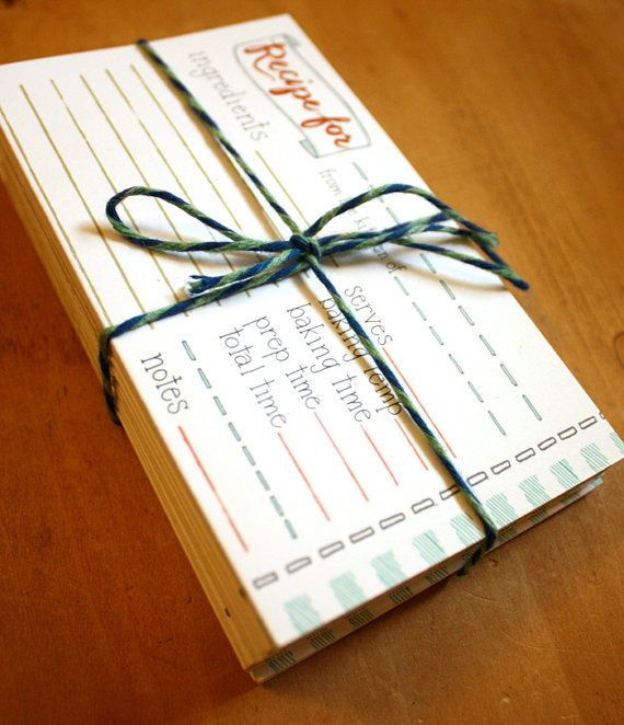 3x5 Recipe Cards Illustrated by Hand by 1canoe2 on Etsy, $12.00