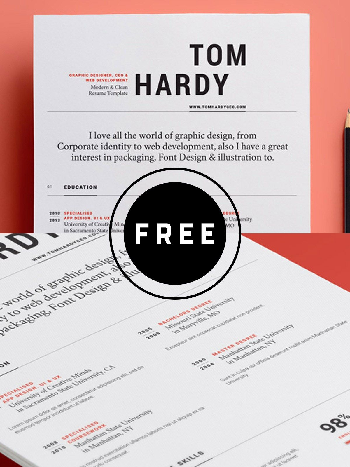 98 Awesome Free Resume Templates for 2019 Resume design