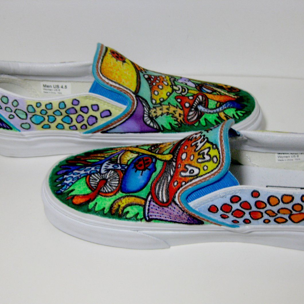a79598bd85f8 trippy patterned custom designed Vans classic slip on shoes