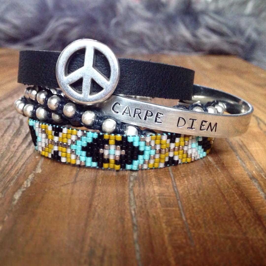 New set peace leather beadwork beads carpediem miyuki design