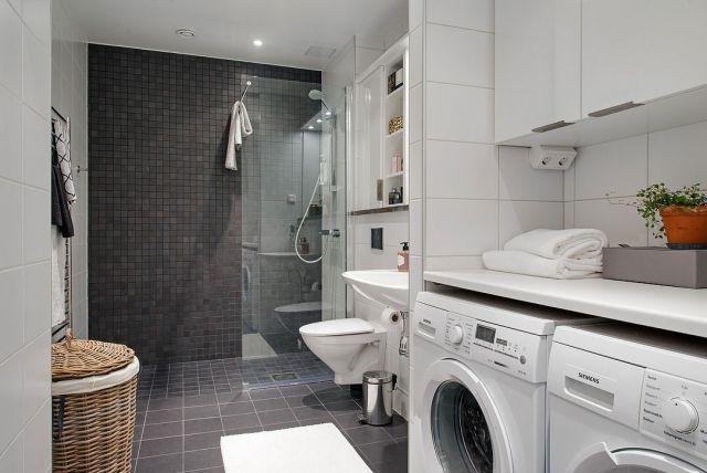 Loft Wohnung Waschraum Waschmaschine Badezimmer Geräumig Duschkabine