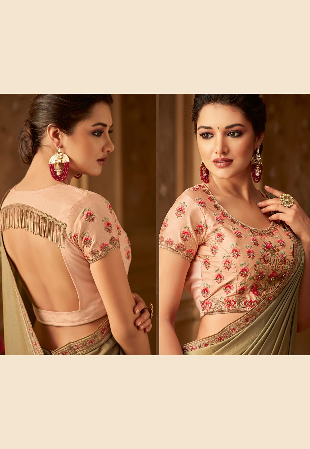 6e789c42ea Beige silk embroidered saree with blouse 514 in 2019   Indian ...