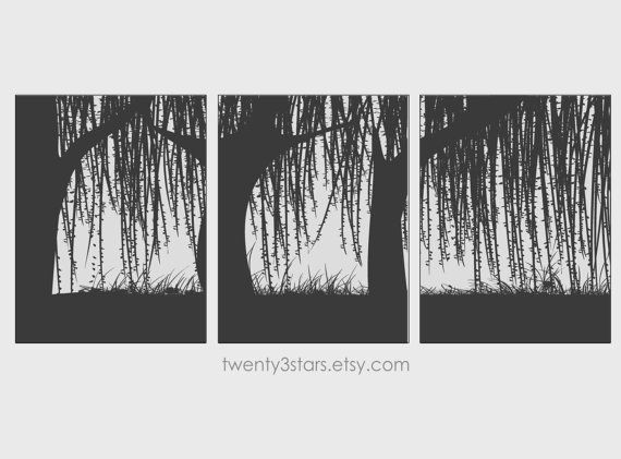 Good Weeping Willow Trees Triptych Prints, You Choose The Colors Minimalist Wall  Art Unframed Set Of Great Ideas